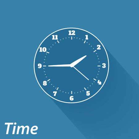 Flat icons for web and mobile applications. Time icon. Long shadow design Vector