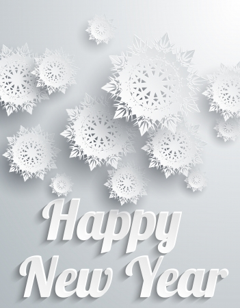 Happy New Year Background with Snowflakes