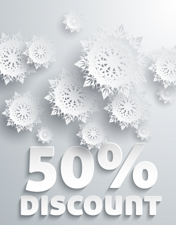 Discount Percent with Snowflake on White Illustration