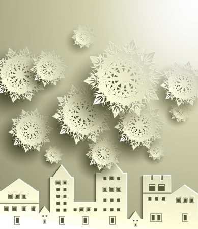 Merry Christmas Town with Snowflake Vector