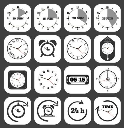 Relojes Negro conjunto de iconos.