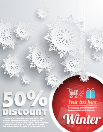 christmas snow: Merry Christmas Background Discount Percent with Snowflake and Ball Illustration