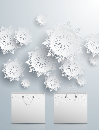 Merry Christmas Background with Snowflake and Bags