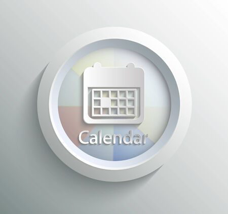 App icon metal calendar with shadow on technology circle and grey background Vector