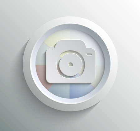 App icon metal camera with shadow on technology circle and grey background Vector