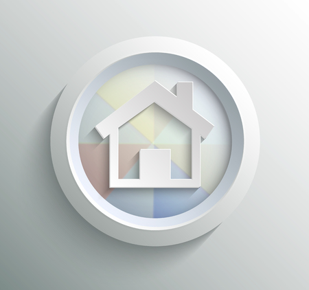 App icon metal home with shadow on technology circle and grey background Vector