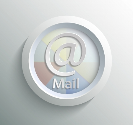 App icon metal mail with shadow on technology circle and grey background Vector