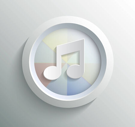 App icon metal music with shadow on technology circle and grey background Vector