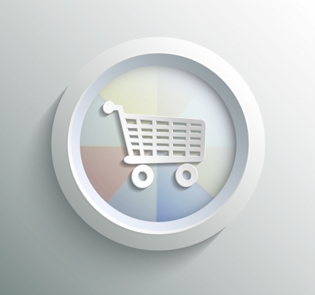 shoping: App icon metal shoping with shadow on technology circle and grey background Illustration