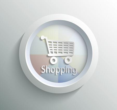 App icon metal shoping with shadow on technology circle and grey background Vector
