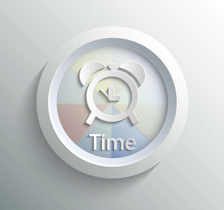 App icon metal time with shadow on technology circle and grey background Vector