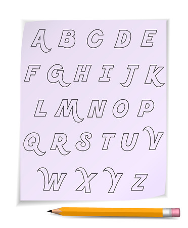 Alphabet on page with yellow pencil