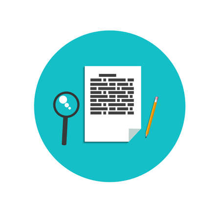 Flat magnifying glass with page and pencil Vector