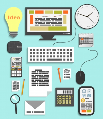 Set of office and business work elements in flat design