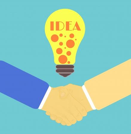 lightbulb idea: Stretta di mano in design piatto con l'idea lampadina Vettoriali