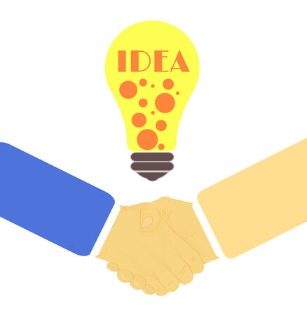 Handshake in flat design with lightbulb idea Vector
