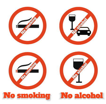 No smoking no alcohol sign warning icons Vector