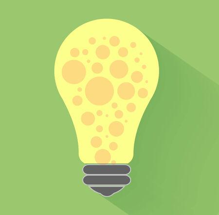 lightbulb idea: Lampadina idea concept design piatto e lunga ombra.