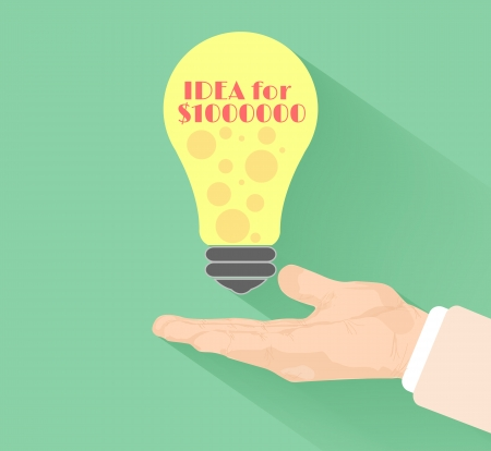 Lightbulb idea concept with hand at flat design and long shadow Vector
