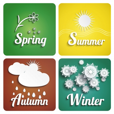 Seasons flat design with long shadow Vector