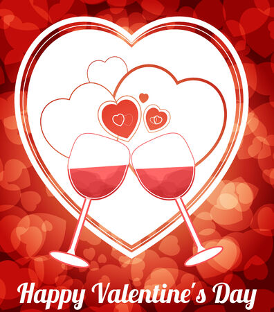 Happy Valentine Day Background with Herts and Goblet Vector