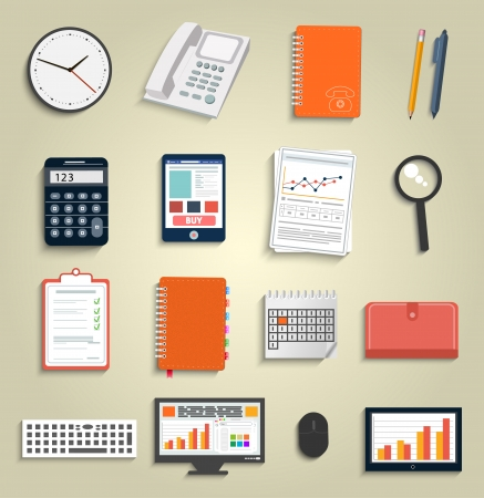 Set of office and business work elements in flat design Stock Vector - 24498497