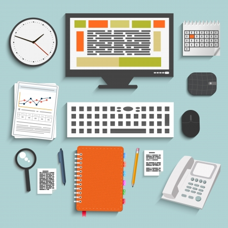 Set of office and business work elements in flat design Stock Vector - 24498567