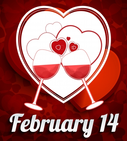 red wine pouring: Happy Valentine Day Background with Herts and Goblet Illustration