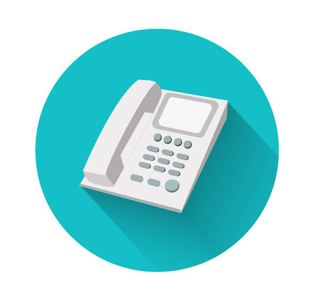 old office: Phone in flat design with long shadow. Landline phone