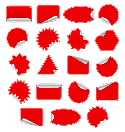 stiker: Red Blank Sticky Paper Set Isolated on White Background