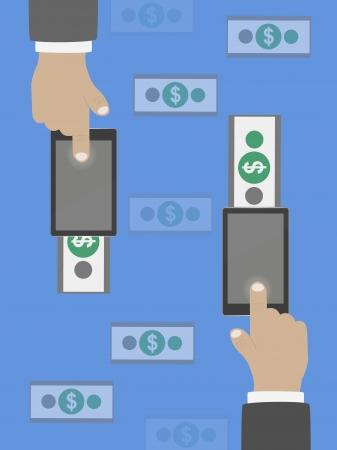 bank transfer: Money transfer in flat design