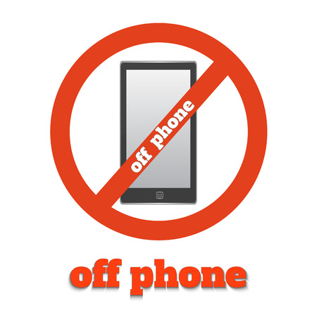 sign not to talk by phone: No cell phone sign. Warning sign indicating cell phones not allowed, sign not to talk by phone Illustration