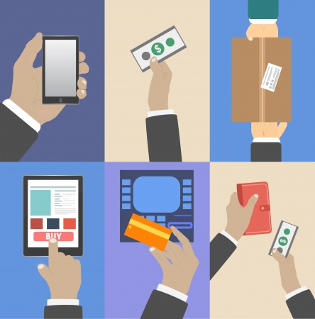 Set of business hands action concepts e-commerce