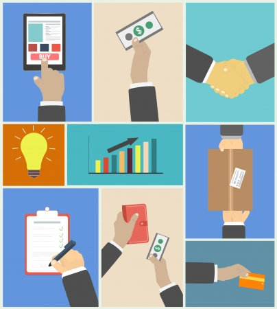 Set of business hands action concepts e-commerce Vector