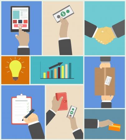 Set von Business H�nde Handlungskonzepte E-Commerce