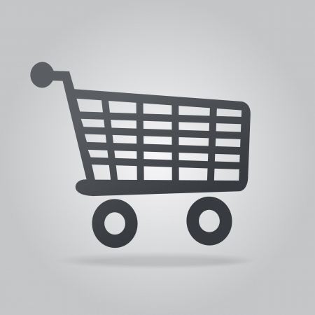 shoppingcart: App Icon Gray Shopping Trolley with Shadow Illustration