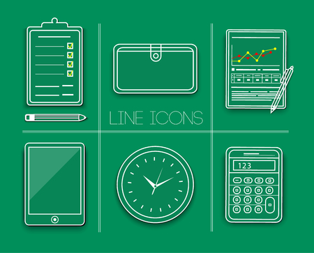 Set of office and business work elements. Line icons Stock Vector - 25213486