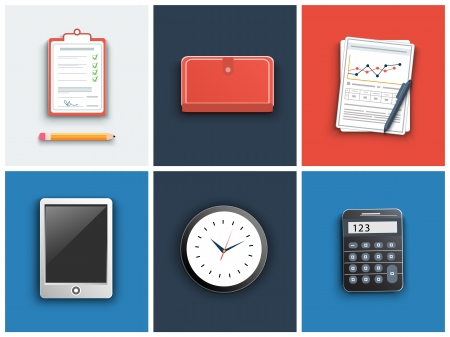 Office and business work elements set Vector