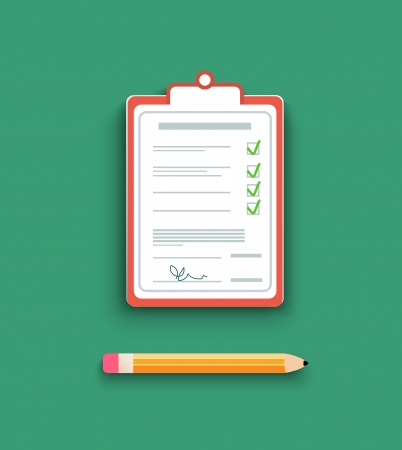 signing document: Delivery signature clipboard in flat design