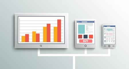 Set of modern digital devices. Internet cloud Illustration