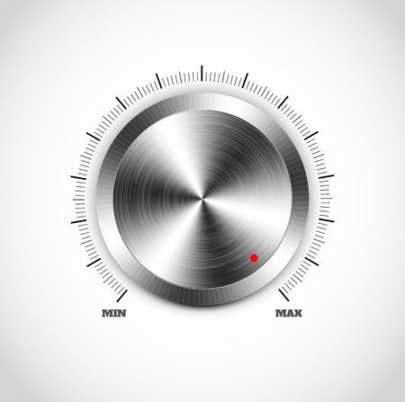 Realistische metalen knop met ronde verwerking op een witte achtergrond Stock Illustratie