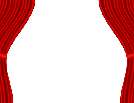 Theater stage with red curtain white background Vector
