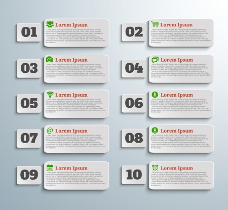 Infographic banners with icons and number on grey background