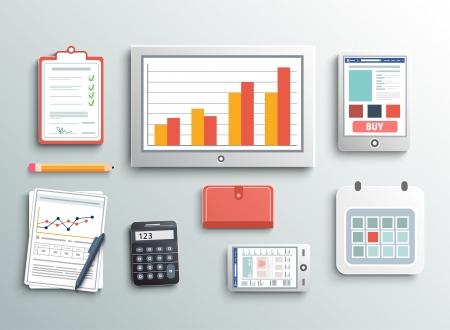 Set von B�ro-und Gesch�ftsarbeitselemente in flaches Design Illustration