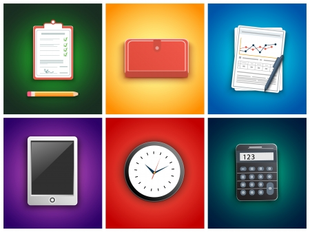 Office and business work elements set