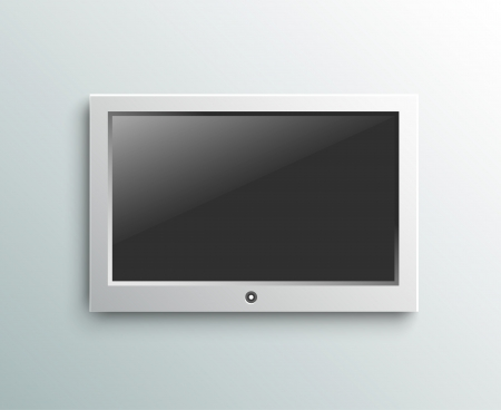 lcd display: Led tv hanging monitor on the wall background