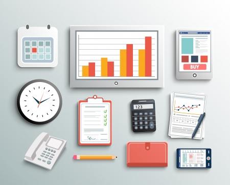상단: 직장 사무실 및 비즈니스 작업 요소를 설정합니다. 모바일 장치 및 문서 일러스트