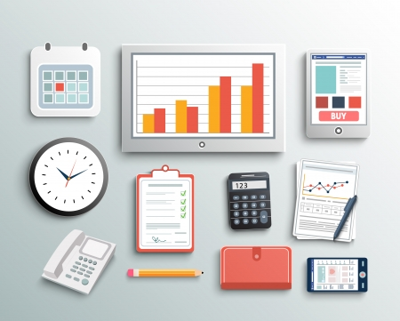 Workplace office and business work elements set. Mobile devices and documents
