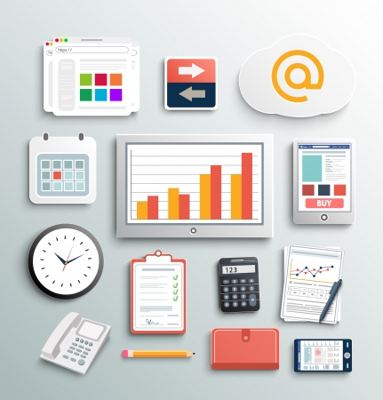 Arbeitsplatz B�ro-und Gesch�fts Arbeit Elemente. Mobile Ger�te und Dokumente Illustration