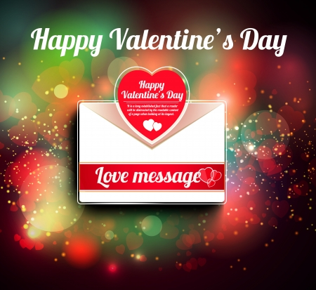 Valentine mail message with heart and bokeh background Vector
